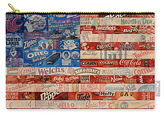 American Flag - Made From Vintage Recycled Pop Culture Usa Paper Product Wrappers Carry-all Pouch