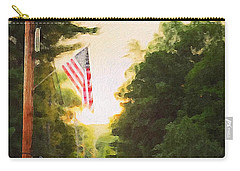 American Flag On A Country Road Carry-all Pouch