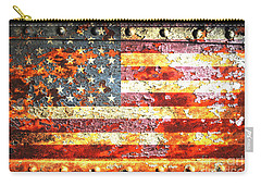 American Flag On Rusted Riveted Metal Door Carry-all Pouch