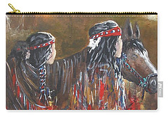 Carry-all Pouch featuring the painting American Indians Family by Miroslaw  Chelchowski