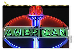 Carry-all Pouch featuring the photograph American Oil Sign by Sandy Keeton