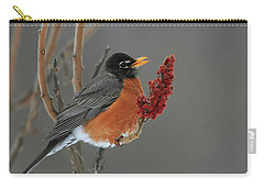 American Robin On Sumac Carry-all Pouch