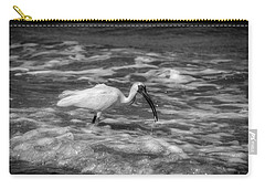 American White Ibis In Black And White Carry-all Pouch by Chrystal Mimbs