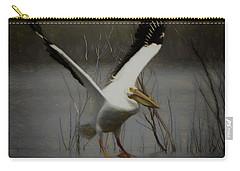 American White Pelican Da Square Carry-all Pouch by Ernie Echols