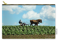 Amish Farmer With Horses In Tobacco Field Carry-all Pouch