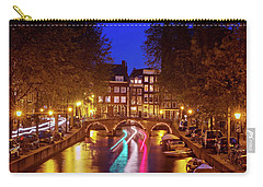 Carry-all Pouch featuring the photograph Amsterdam By Night by Barry O Carroll