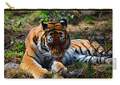 Carry-all Pouch featuring the mixed media Amur Tiger 2 by Angelina Vick