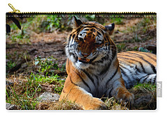 Carry-all Pouch featuring the mixed media Amur Tiger 4 by Angelina Vick