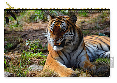 Carry-all Pouch featuring the mixed media Amur Tiger 5 by Angelina Vick