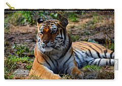Carry-all Pouch featuring the mixed media Amur Tiger 8 by Angelina Vick