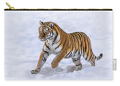 Carry-all Pouch featuring the photograph Amur Tiger Running In Snow by Rikk Flohr
