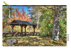 Carry-all Pouch featuring the photograph An Autumn Picnic In Maine by Shelley Neff