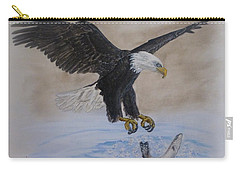 Carry-all Pouch featuring the painting An Eagles Easy Catch by Kelly Mills