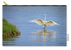 An Egret Spreads Its Wings Carry-all Pouch by Rick Berk