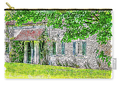 Carry-all Pouch featuring the digital art An English Cottage by Anthony Murphy