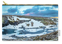 An Icy Waterfall Panorama During Sunrise In Iceland Carry-all Pouch by Joe Belanger