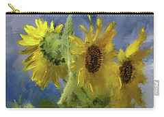 Carry-all Pouch featuring the photograph An Impression Of Sunflowers In The Sun by Lois Bryan