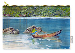 Carry-all Pouch featuring the painting Anak Dan Perahu by Melly Terpening