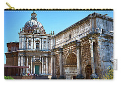 Carry-all Pouch featuring the photograph Ancient Ruins At The Roman Forum by Eduardo Jose Accorinti