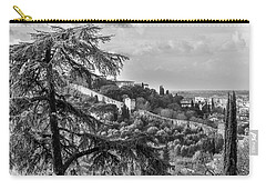 Carry-all Pouch featuring the photograph Ancient Walls Of Florence-bandw by Sonny Marcyan