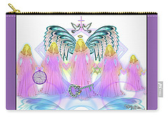 Carry-all Pouch featuring the digital art Angel Cousins #198 by Barbara Tristan