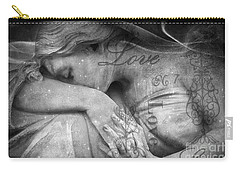 Carry-all Pouch featuring the photograph Angel In Mourning - Angel Crying Sad Cemetery Mourner At Grave - Angel Love Script Valentine Print by Kathy Fornal
