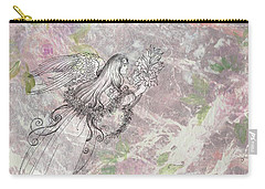 Angel On Pink And Green Florals Carry-all Pouch by Judith Cheng