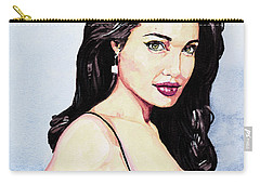 Angelina Jolie Portrait Carry-all Pouch by Alban Dizdari