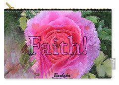 Angels Pink Rose Of Faith Carry-all Pouch by Barbara Tristan