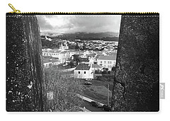 Angra Do Heroismo From Monte Brasil In Black And White Carry-all Pouch
