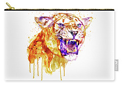 Carry-all Pouch featuring the mixed media Angry Lioness by Marian Voicu