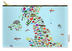 Animal Map Of Great Britain And Ni For Children And Kids Carry-all Pouch