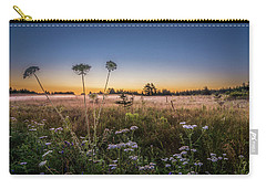 Carry-all Pouch featuring the photograph Anne's Lace On Misty Cavendish Meadows by Chris Bordeleau