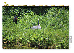 Annoyed - Heron And Red Winged Blackbird 1 Of 10 Carry-all Pouch