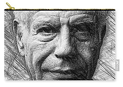 Carry-all Pouch featuring the drawing Anthony Bourdain - Ink Drawing by Rafael Salazar