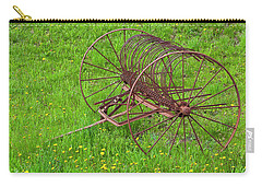 Carry-all Pouch featuring the photograph Antique Hay Rake by Alan L Graham