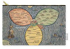 Antique Maps - Old Cartographic Maps - Antique Clover Leaf Map Of Europe, Asia And Africa Carry-all Pouch