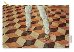 Carry-all Pouch featuring the photograph Antique Optical Illusion Floor Tiles by Patricia Hofmeester