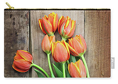 Carry-all Pouch featuring the photograph Antique Scissors And Bouguet Of Tulips by Stephanie Frey