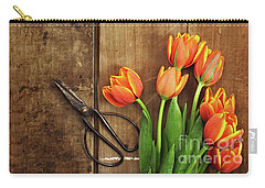 Carry-all Pouch featuring the photograph Antique Scissors And Tulips by Stephanie Frey