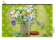 Antique Tin Of Flowers Carry-all Pouch by Larry Bishop