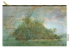 Carry-all Pouch featuring the photograph Antique Vintage Map Of North America Tropical Ocean by Debra and Dave Vanderlaan