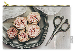 Carry-all Pouch featuring the photograph Antiqued Roses by Kim Hojnacki