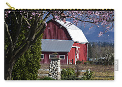 Apple Tree Pink And Barn Red Carry-all Pouch