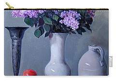 Apples And Lilacs, Silver Vase, Vintage Stoneware Jug Carry-all Pouch
