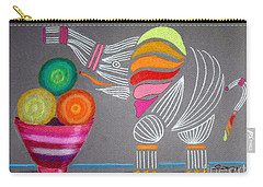 Apples And Oranges And Elephants, Oh My -- Whimsical Still Life W/ Elephant Carry-all Pouch