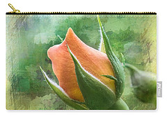 Apricot Delight Rosebud Floral Garden Carry-all Pouch