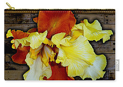 Apricot Iris On Wood Carry-all Pouch by Tara Hutton