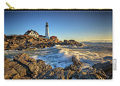 Carry-all Pouch featuring the photograph April Morning At Portland Head by Rick Berk
