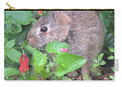 April Rabbit And Columbine Carry-all Pouch by Peg Toliver